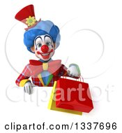Clipart Of A 3d Colorful Clown Holding Shopping Bags Over A Sign Royalty Free Illustration