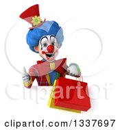 Clipart Of A 3d Colorful Clown Holding Shopping Bags And Giving A Thumb Up Over A Sign Royalty Free Illustration