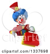 Clipart Of A 3d Colorful Clown Holding Shopping Bags And Giving A Thumb Down Over A Sign Royalty Free Illustration