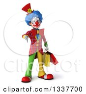 Clipart Of A 3d Colorful Clown Holding Shopping Bags And Giving A Thumb Down Royalty Free Illustration