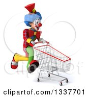 Clipart Of A 3d Colorful Clown With A Shopping Cart Sprinting To The Right Royalty Free Illustration