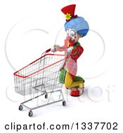 Clipart Of A 3d Colorful Clown With A Shopping Cart Struggling And Facing Left Royalty Free Illustration