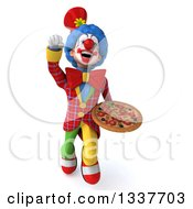 Clipart Of A 3d Colorful Clown Holding A Pizza And Flying Royalty Free Illustration