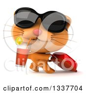 Clipart Of A 3d Traveling Ginger Cat Wearing Sunglasses Drinking A Beverage And Pulling A Rolling Suitcase Royalty Free Illustration by Julos