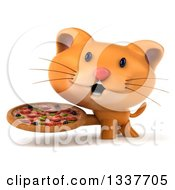 Clipart Of A 3d Ginger Cat Holding A Pizza Royalty Free Illustration by Julos