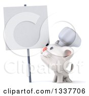 Clipart Of A 3d White Chef Kitten Looking Up At A Blank Sign Royalty Free Illustration