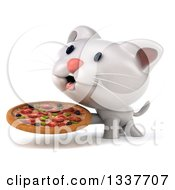 Clipart Of A 3d White Kitten Panting And And Holding A Pizza Royalty Free Illustration