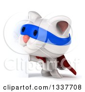 Clipart Of A 3d White Super Kitten Looking Around A Sign Royalty Free Illustration