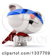 Clipart Of A 3d White Super Kitten Standing On His Hind Legs Royalty Free Illustration