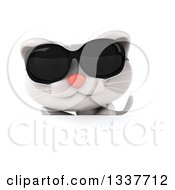 Clipart Of A 3d White Kitten Wearing Sunglasses Over A Sign Royalty Free Illustration