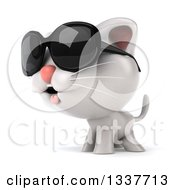 Clipart Of A 3d White Kitten Wearing Sunglasses And Facing Left Royalty Free Illustration