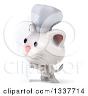 Clipart Of A 3d White Chef Kitten Looking Around A Sign Royalty Free Illustration