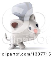 Clipart Of A 3d White Chef Kitten Walking To The Right Royalty Free Illustration