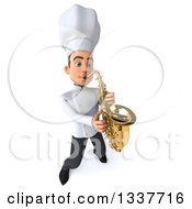 Clipart Of A 3d Young White Male Chef Musician Playing A Saxophone Royalty Free Illustration