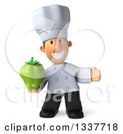 Clipart Of A 3d Short White Male Chef Holding A Green Bell Pepper And Presenting Royalty Free Illustration by Julos