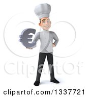 Clipart Of A 3d Young White Male Chef Holding A Euro Currency Symbol Royalty Free Illustration