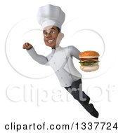 Clipart Of A 3d Young Black Male Chef Holding A Double Cheeseburger And Flying Royalty Free Illustration