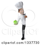Clipart Of A 3d Full Length Young Black Male Chef Holding A Green Apple And Looking Around A Sign Royalty Free Illustration