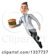Clipart Of A 3d Young White Male Nutritionist Doctor Holding A Double Cheeseburger Pouting And Flying Royalty Free Illustration