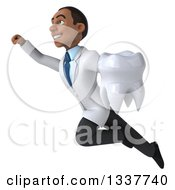 Clipart Of A 3d Young Black Male Dentist Flying And Holding A Giant Tooth 2 Royalty Free Illustration by Julos