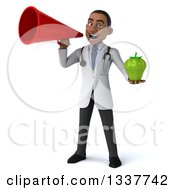Clipart Of A 3d Young Black Male Nutritionist Doctor Holding A Green Bell Pepper And Announcing With A Megaphone Royalty Free Illustration