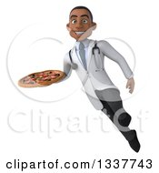 Clipart Of A 3d Young Black Male Nutritionist Doctor Holding A Pizza And Flying Royalty Free Illustration