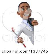 Clipart Of A 3d Young Black Male Dentist Holding A Giant Toothbrush Around A Sign Royalty Free Illustration by Julos