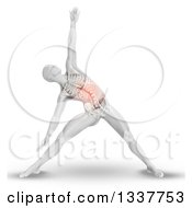 Clipart Of A 3d Anatomical Man Stretching In A Yoga Pose With Visible Torso Skeleton And A Highlighed Red Area On White Royalty Free Illustration