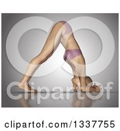 Clipart Of A 3d Fit Caucasian Woman In A Yoga Pose On Gray 2 Royalty Free Illustration