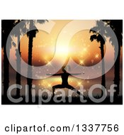 Clipart Of A Fit Silhouetted Woman Doing Yoga Between Palm Trees Against A Magical Sunset Royalty Free Vector Illustration