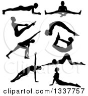 Clipart Of Black Silhouetted Women In Yoga Poses Royalty Free Vector Illustration