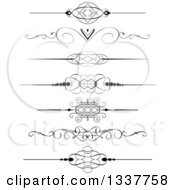 Clipart Of Black And White Ornate Rule Page Border Design Elements Royalty Free Vector Illustration by KJ Pargeter