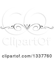 Clipart Of A Black And White Ornate Swirl And Heart Rule Page Border Design Element Royalty Free Vector Illustration