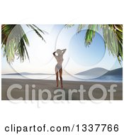 Clipart Of A 3d Caucasian Woman In A Bikini Standing Relaxed On A Tropical Beach At Sunset Royalty Free Illustration by KJ Pargeter