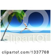 Clipart Of A 3d Carefree Happy Caucasian Woman In A Bikini Leaping On A Tropical Beach Royalty Free Illustration by KJ Pargeter
