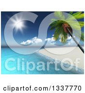 Clipart Of A 3d White Sand Coastline And Leaning Palm Tree Tropical Beach With The Ocean And Shining Sun Royalty Free Illustration
