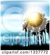 Clipart Of A Background Of Silhouetted Palm Trees Against A Blue Sunset With Light Flares And Grass Royalty Free Vector Illustration