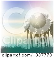 Clipart Of A Background Of Vintage Lighting Effects With Silhouetted Palm Trees Against A Blue Sunset With Light Flares And Grass Royalty Free Vector Illustration