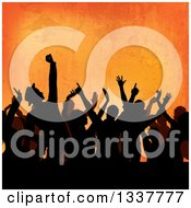 Clipart Of A Silhouetted Crowd Of People Dancing At A Party Over Orange Grunge Royalty Free Vector Illustration