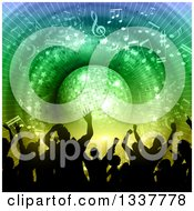 Clipart Of A Silhouetted Party Crowd Dancing Under A Blue And Green Disco Ball With Music Notes Royalty Free Vector Illustration by KJ Pargeter