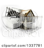 Clipart Of A 3d House Under Construction Surrounded By Scaffolding Partial Sketch On White Royalty Free Illustration