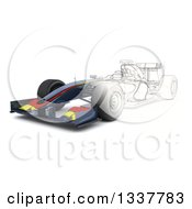 Clipart Of A Half Sketch And 3d F1 Race Car Royalty Free Illustration