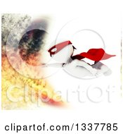 Clipart Of A 3d White Man Super Hero Flying Into A Fire Over White Royalty Free Illustration