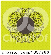 Clipart Of A Retro Round Brown Frame With Ornate Floral Hearts Over Green Polka Dots Royalty Free Vector Illustration by KJ Pargeter