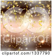 Clipart Of A Background Of Falling Gold Confetti Over Blur And Flares Royalty Free Vector Illustration by KJ Pargeter