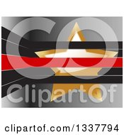 Clipart Of A 3d Shiny Gold Star Tucked In Black And Red Stripes Over Gray Royalty Free Vector Illustration