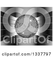 Clipart Of A 3d Silver Disco Ball Over Shiny Curving Stripes Over Gray Royalty Free Vector Illustration