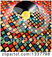 Clipart Of A 3d Music Vinyl Record Album Breaking Through Colorful Tiles Royalty Free Vector Illustration by elaineitalia