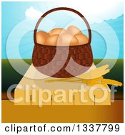 Clipart Of A 3d Basket Of Brown Eggs And Strands Of Wheat On A Table Over A Valley And Blue Sky Royalty Free Vector Illustration by elaineitalia