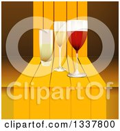 Clipart Of A 3d Glasses Of Wine And Champagne On A Step Royalty Free Vector Illustration